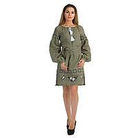 Женское вышитое платье зеленого цвета