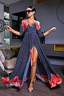Длинное модное платье в горошек с рукавом 3461 (42–48р) в расцветках , фото 1