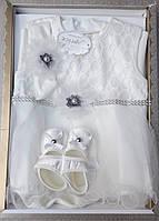 Нарядный  праздничный набор для малышки ( 0-6 месяцев).