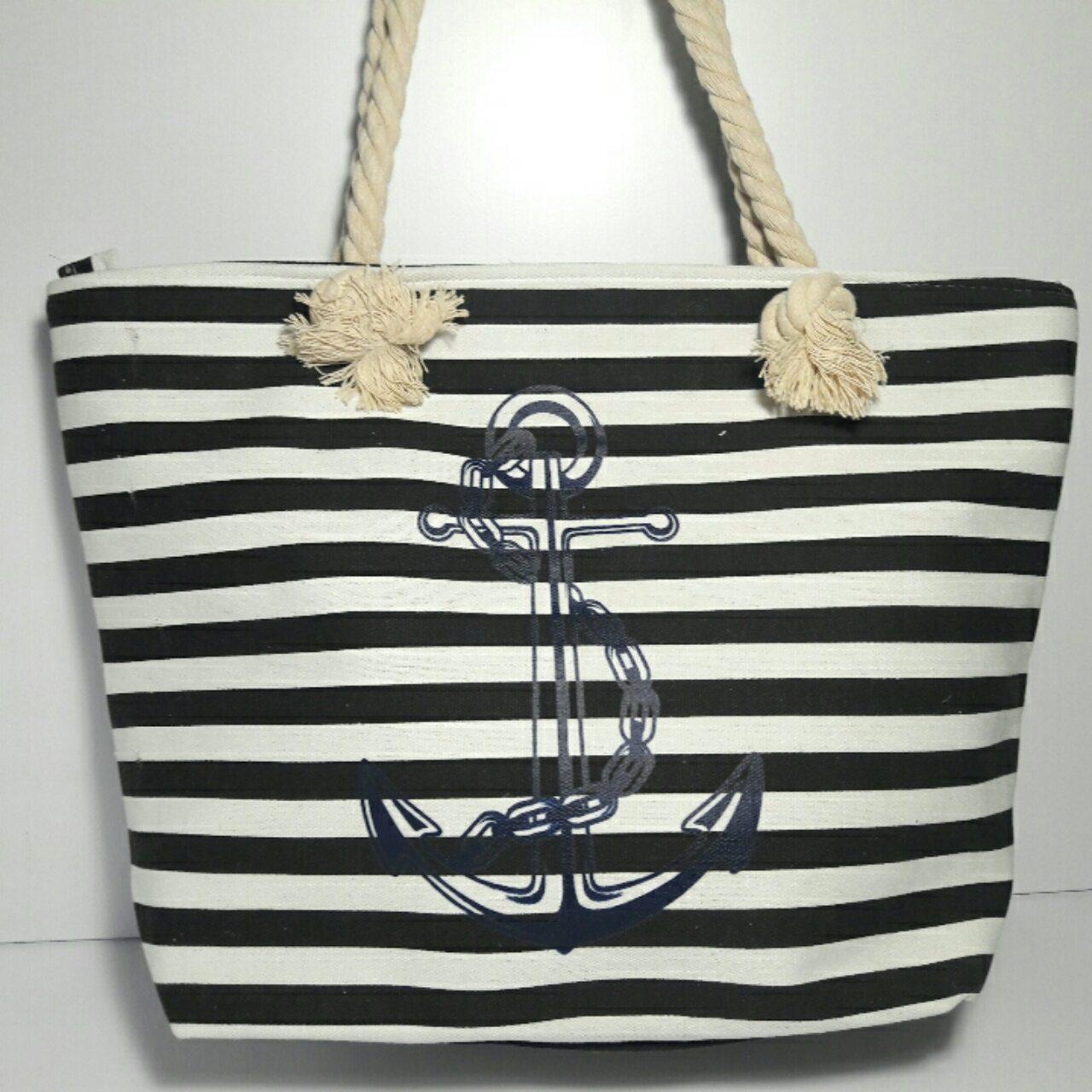 Пляжная сумка текстильная Полоса с якорем