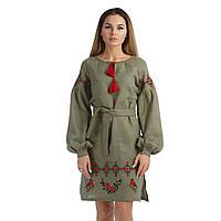 Зеленое вышитое платье для женщины