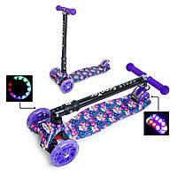 """Самокат для девочек MAXI со складным рулем и колесами с подсветкой """"Орхидея"""", фото 1"""