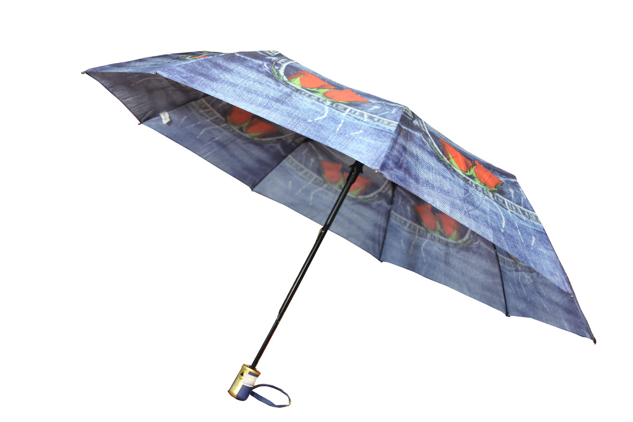 Складный женский зонт полуавтомат на 9 спиц с рисунком джинс и розочками