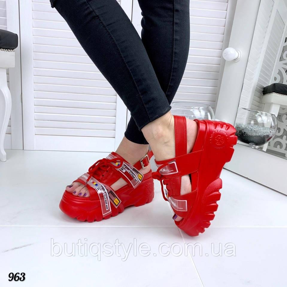 fbe610b28 36 размер Спортивные сандали Balenciaga красные на платформе натуральная  кожа + обувной текстиль -