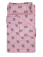 Комплект постільної білизни дитячий/підлітковий. Три розміри. 10 кольорів. Ведмедики на рожевому.