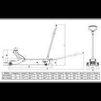 Домкрат подкатной удлиненный 5т, BAHCO, BH15000A, фото 3