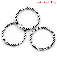 Кольцо закрытое круглое 18 мм жгут для рукоделия Античное серебро