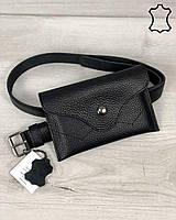 Кожаная женская сумка на пояс WeLassie «Pauli» черного цвета, фото 1
