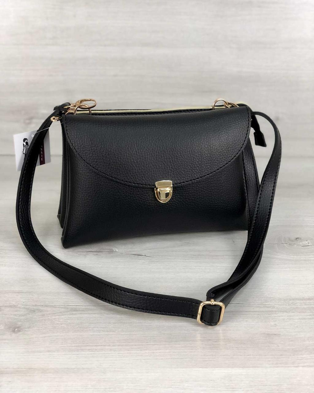 87aaac3ad Молодежная женская сумка Виола черного цвета - Модна Хустка - интернет- магазин стильных аксессуаров в