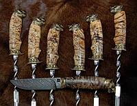 """Набор шампуров с ножом """"Волчья стая"""", 6шт в колчане (наличие уточняйте)"""