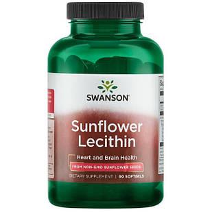 Swanson Premium Sunflower Lecithin, Non-GMO Лецитин из подсолнечника без ГМО 1200 мг 90 ЖК