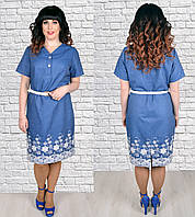Летнее джинсовое платье большого размера,  по низу вышивка, легкий джинс р. 54,56,58,60  (1778)