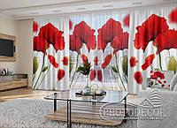 """3D - Фото Шторы и тюль """"Красные маки на белом"""" (шторы 2,5м*2,9м, тюль 2,5м*3,0м)"""