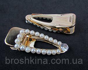 Заколка уточка для волос металл с жемчугом 6*2 см основа золото 6 шт/уп.