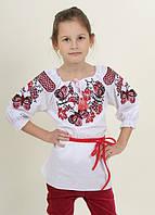 """Вышиванка, блузка для девочки """"Бабочка"""" (белая) 104-116"""