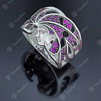Серебряное кольцо Богиня с цирконием в цвете фуксия