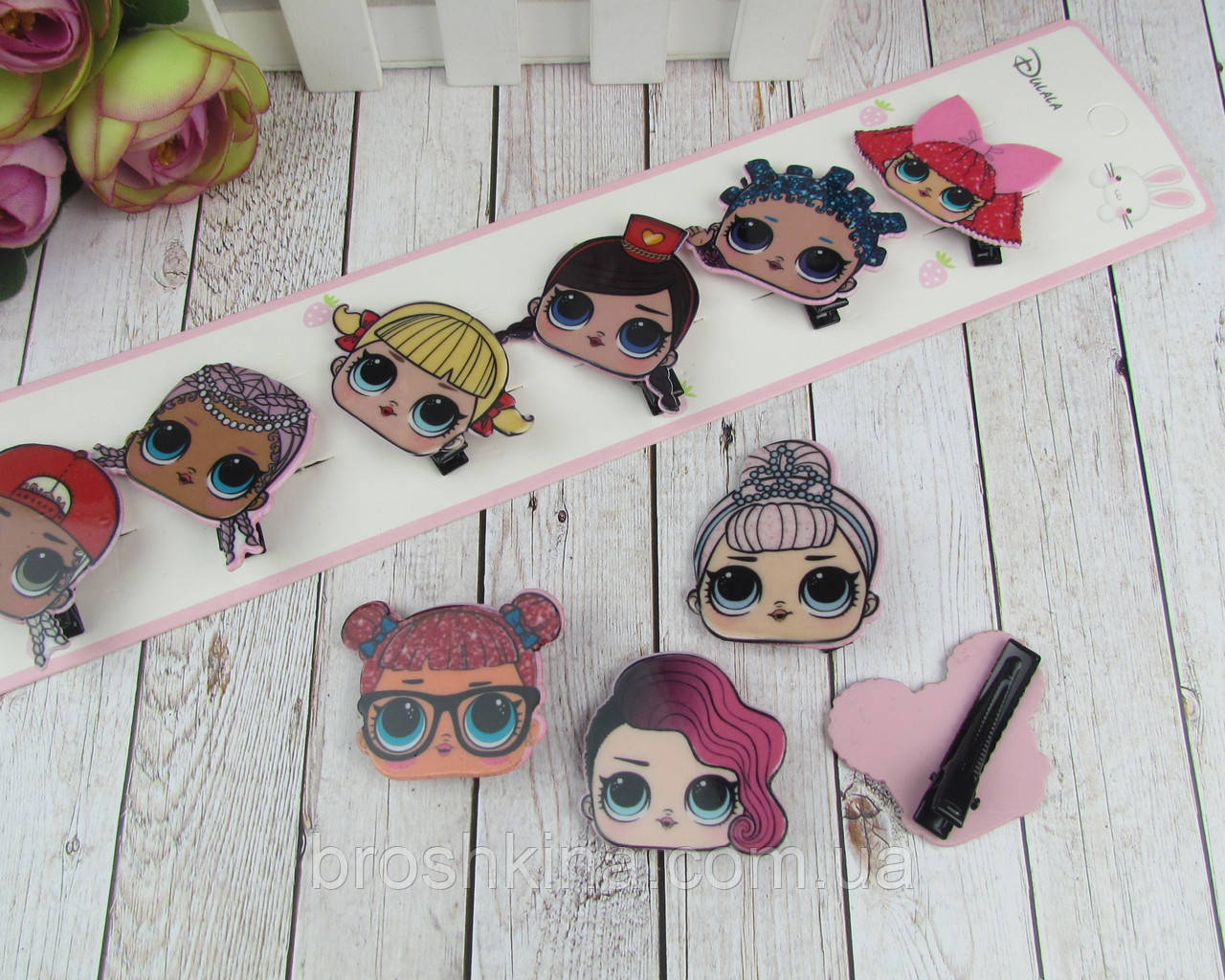 Детские заколки уточки для волос куклы LOL 4 см 10 шт/уп.