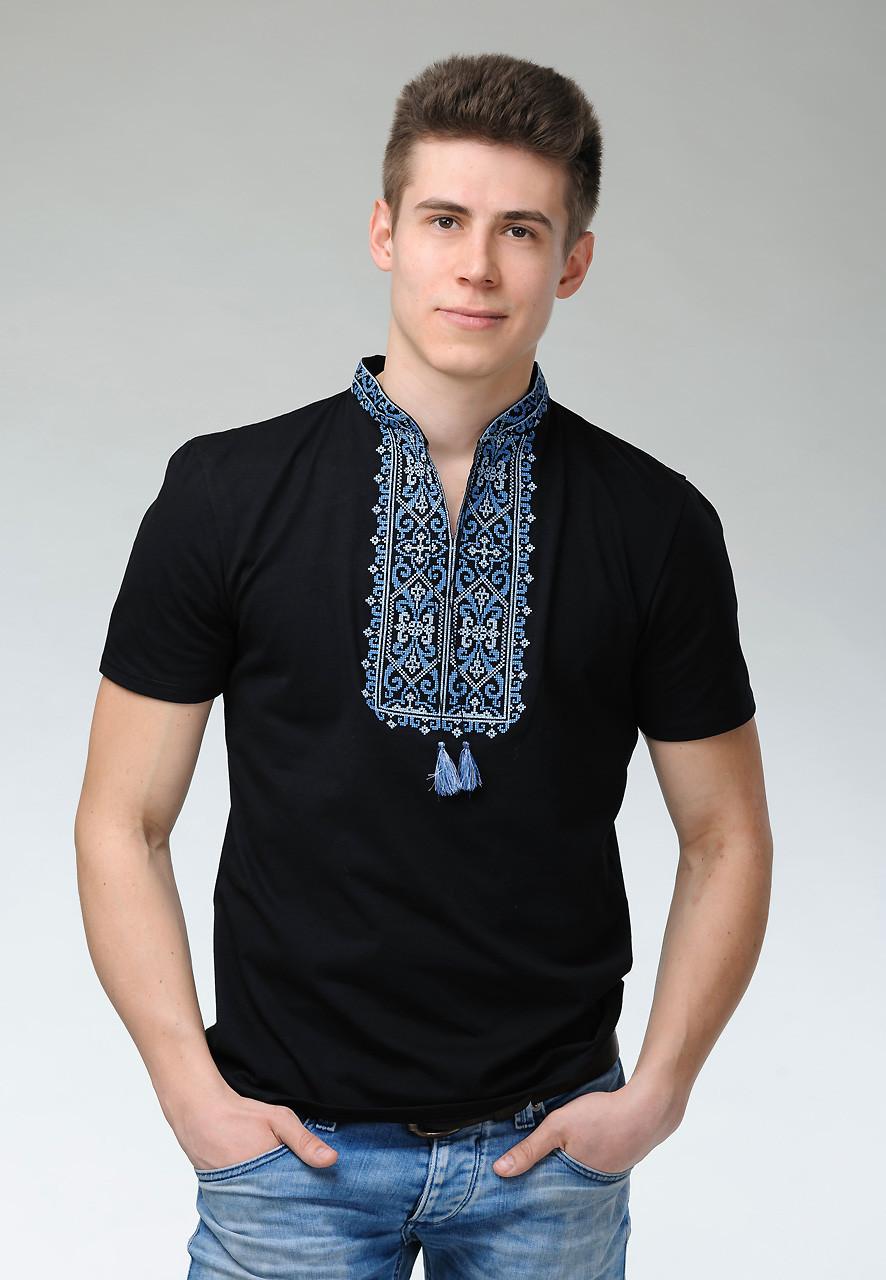 Черная футболка с вышивкой для мужчин