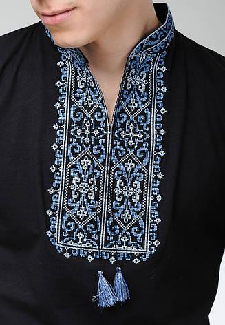 Черная футболка с вышивкой для мужчин, фото 2
