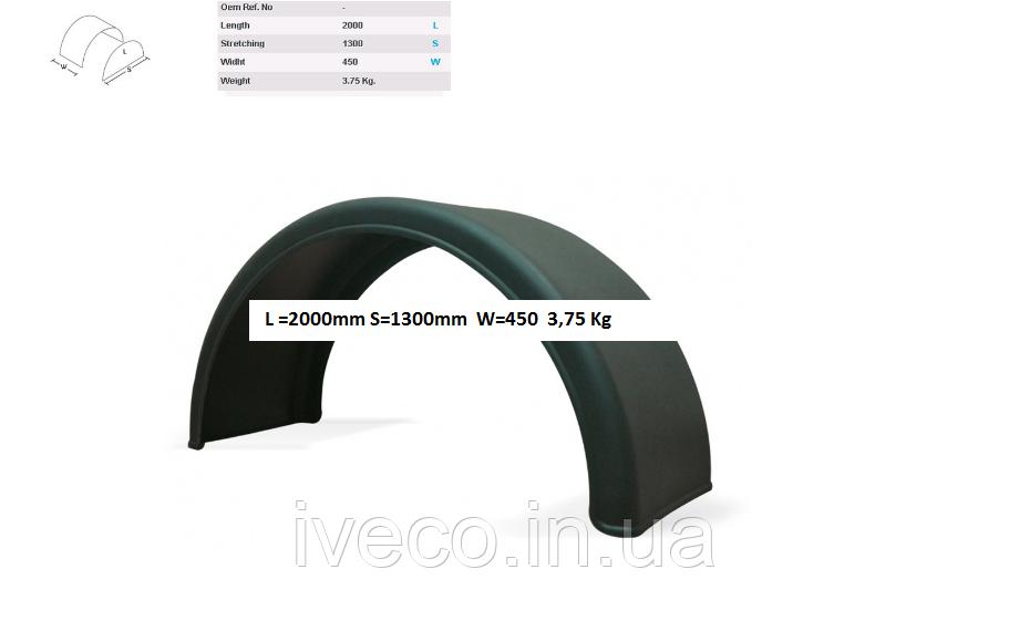 Крыло прицепа пластик Прицепной, без крепления 420x2000 без каймы DK1575 DK1675