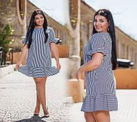 Платье  в полоску  с воланами  50-52,54-56  Цвет -  полоска сине-белая, голубой узор, фото 1