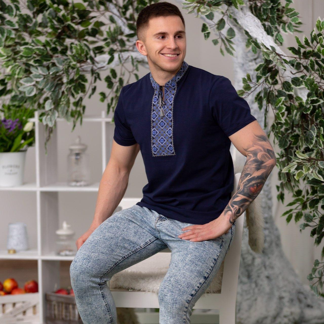 Синяя футболка вышиванка мужская