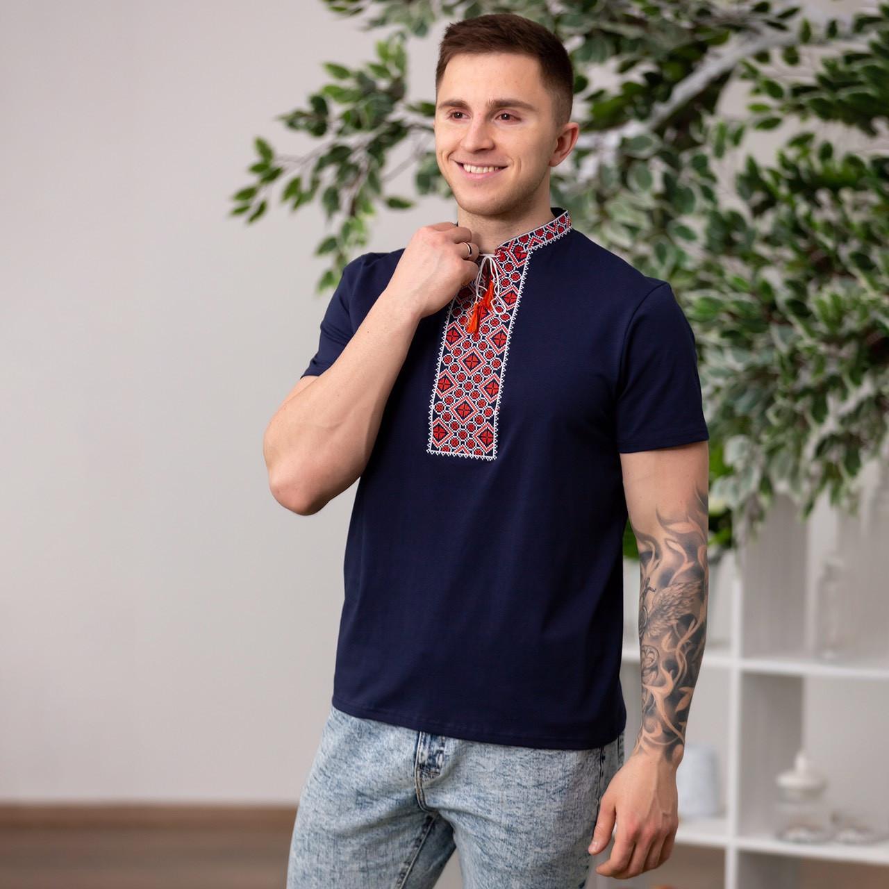 Мужская футболка вышиванка темно - синяя с красной вышивкой