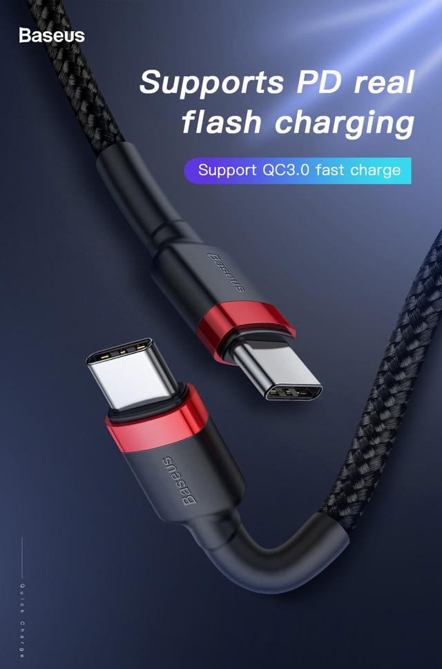 Кабель USB Type-C to Type-C Baseus CATKLF-G91 с поддержкой PD2.0 QC 3.0 для зарядки и передачи данных Черный 1м