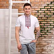 Мужская футболка вышиванка белого цвета