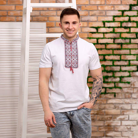 Мужская футболка вышиванка белого цвета, фото 2