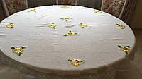 """Скатертина кругла лляна сірого кольору """"Соняшна"""" ручна вишивка 180 см"""