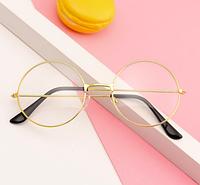 Имидж очки+Подарок, прозрачные круглые в золотой оправе для подростков