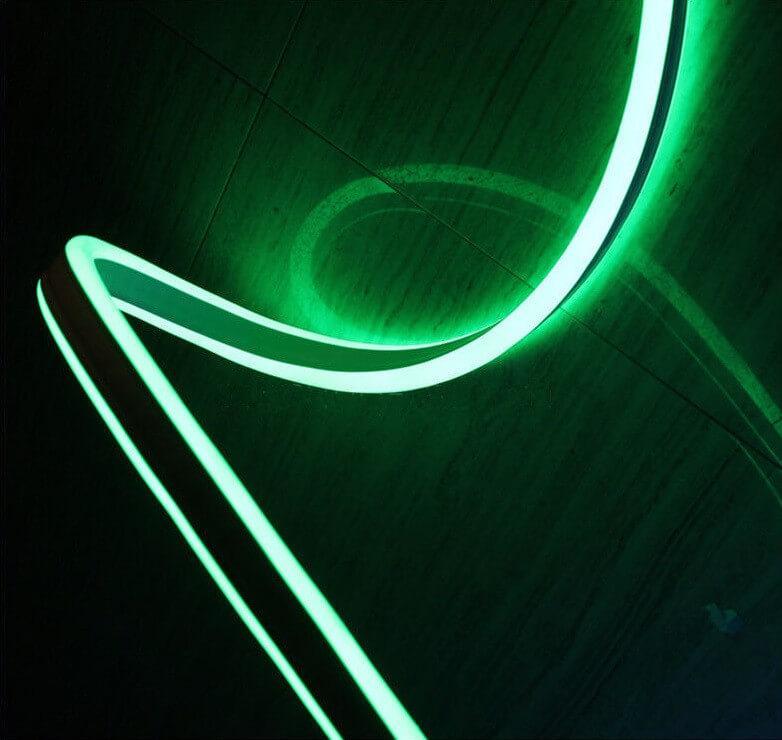 Двусторонняя LED неоновая излучающая лента LTL FLEX 8х16mm 120 LED 2835smd IP67 220v Green