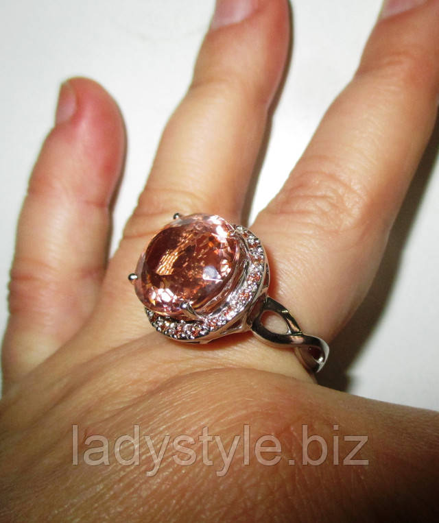 купить серебряный перстень с сапфирами морганит натуральный