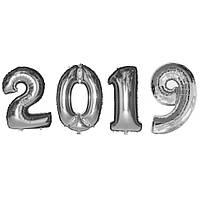 Набор фольгированных шаров 2019 (100 см) серебро