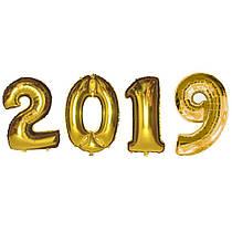 Набор фольгированных шаров 2019 (100 см) золото
