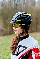 Шлем велосипедный с козырьком СIGNA WT-068 L (58-61 см) (черно-бело-салатный), фото 1