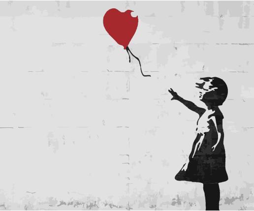 Картина по Номерам 40x50 см. Красный шар. Бэнкси BrushMe, фото 2