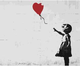 Картина по Номерам 40x50 см. Красный шар. Бэнкси BrushMe