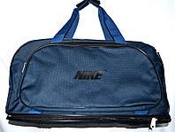 Спортивная дорожная сумка трансформер с расширением в низ текстильная синего цвета 57*30 см