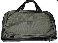 Спортивная дорожная сумка трансформер с расширением в низ текстильная оливкового цвета 57*30 см