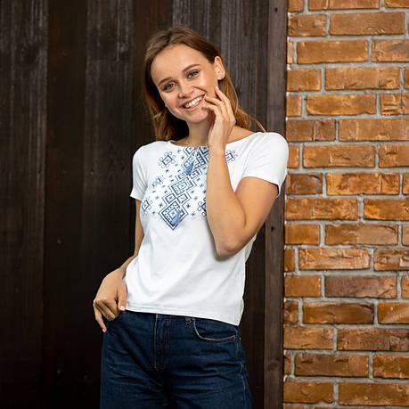 Голубые ромбы футболка белого цвета, фото 2