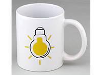 Чашка хамелеон Лампочка белая 320 мл