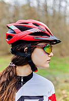 Шолом велосипедний з козирком СIGNA WT-036 М (54-57см) (червоний)