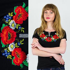 Украинская вышитая черная футболка Маковое поле, фото 2