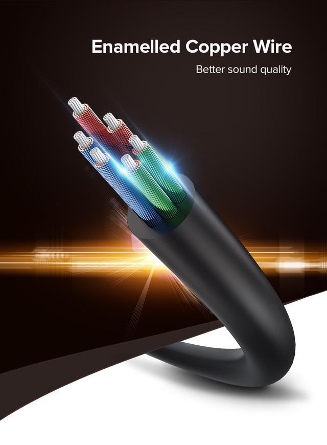 AUX 3.5mm разветвитель/сплиттер Ugreen AV123 10532 аудио кабель Чёрным с серебристым 20см