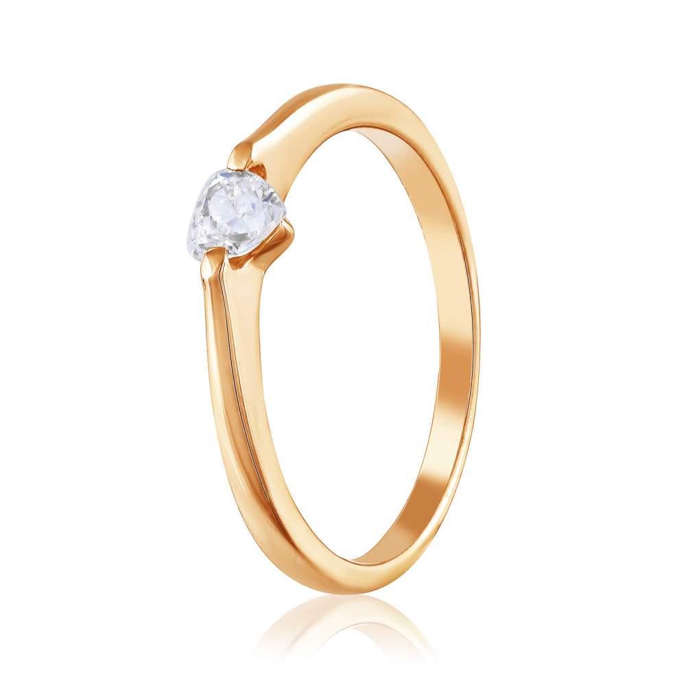 Кольцо золотое с камнем SWAROVSKI Zirconia в форме сердца, КД4184SW Эдем