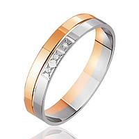 Обручальное кольцо с тремя бриллиантами, комбинированное золото, КОА7093 Eurogold