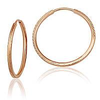 """Серьги-кольца из красного золота, мелкий рельеф """"Альбатрос"""", без вставок, С002/1 Eurogold"""