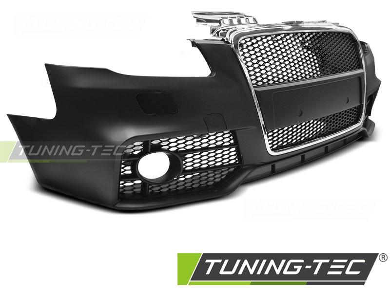 Бампер передний Audi A4 B7 стиль RS (решетка black-chrome)